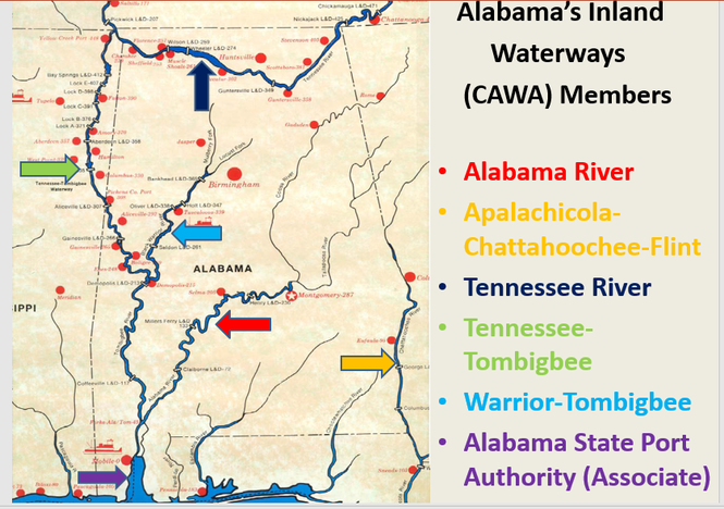 This map from the Warrior-Tombigbee Waterway Association shows Alabama's inland waterway systems. CAWA stands for Coalition of Alabama Waterways. (Warrior-Tombigbee Waterway Association