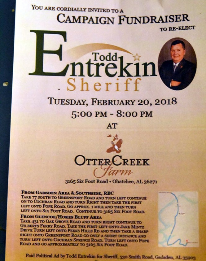 An invitation to Etowah County Sheriff Todd Entrekin's Feb. 20 fundraiser in Ohatchee. (Todd Entrekin for Sheriff)