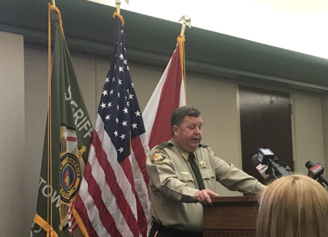 Etowah County Sheriff Todd Entrekin speaks at a press conference in Gadsden on Friday. (Connor Sheets | csheets@al.com)