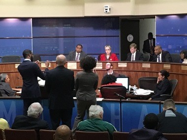 Birmingham Mayor Randall Woodfin; Tad Snider, executive director of BJCC; and attorney from city law department speak to city councilors about BJCC stadium funding agreement at March 27, 2018 City Council meeting. (Erin Edgemon/eedgemon@al.com)