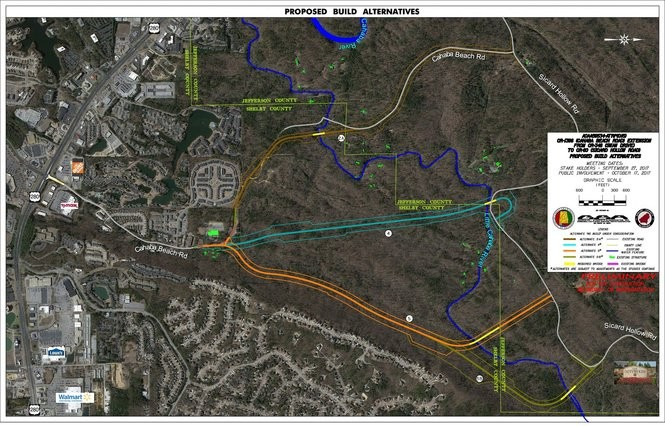 This map shows proposed routes to connect Cahaba Beach Road with Sicard Hollow Road off of U.S. 280. ALDOT is proceeding to do impact studies on the southern-most routes, options 5 and 5B.