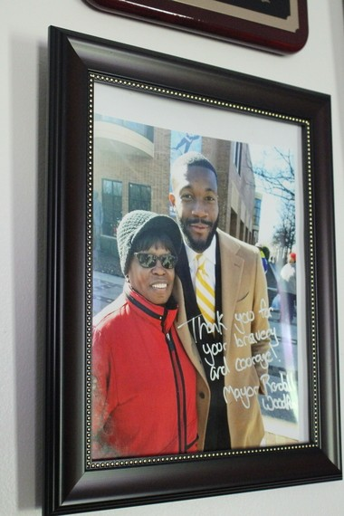 A photograph of Sarah Collins Rudolph and Mayor Randall Woodfin (Shauna Stuart for Al.com)