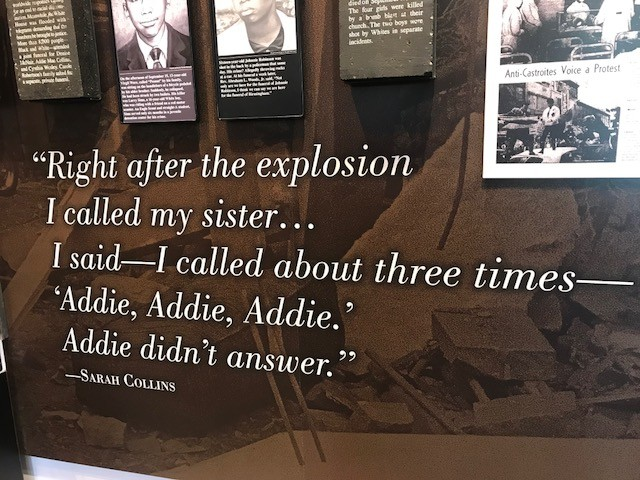 The story of Sarah Collins Rudolph calling for her sister Addie Mae is immortalized on the wall of the Birmingham Civil Rights Institute (Shauna Stuart for Al.com)