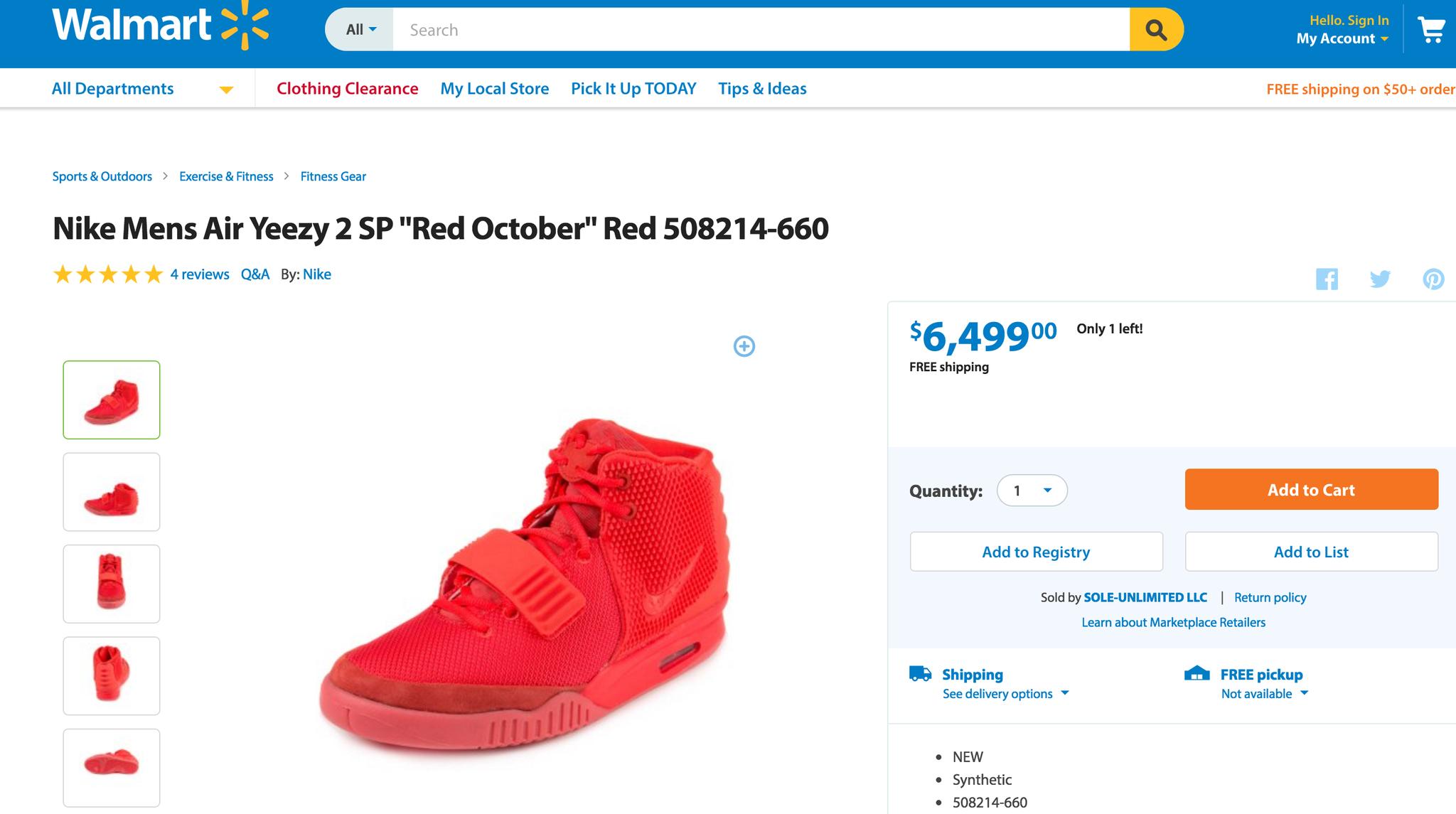 caja registradora Formular aficionado  Walmart website selling Kanye West's Nike Air Yeezy 2 sneakers for $6,499 -  al.com