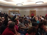 The room was full about 30 minutes before the meeting began in Oxford.