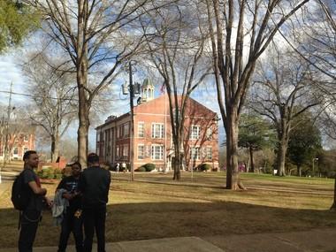 Students talk on the campus of Talladega College Friday, Jan. 13, 2017.