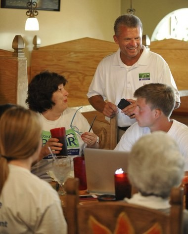 Madison County superintendent candidate Ronnie Blair is surrounded by supporters at Mi Casa Mexican Restaurant in Harvest on Tuesday. Blair lost his bid to lead the school district to Matt Massey. (Bob Gathany/bgathany@al.com)