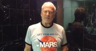 Buzz Aldrin readies for the ALS Ice Bucket Challenge.