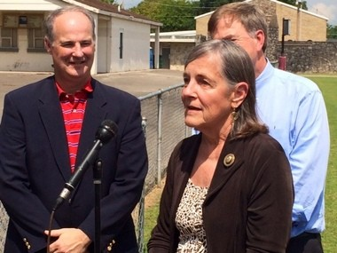Margaret Ann Goldsmith speaks to the media during a Sept. 5, 2014, news conference at Goldsmith-Schiffman Field in Huntsville. (Steve Doyle | sdoyle@al.com)