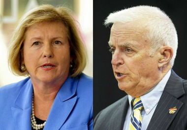 Huntsville school board members Jennie Robinson, left, and Topper Birney are pictured. (File photos)