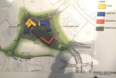 This architect's site plan show the layout for the planned Big Spring Square in downtown Huntsville, Ala. At left is the current Embassy Suites hotel, and Big Spring International Park is at top.