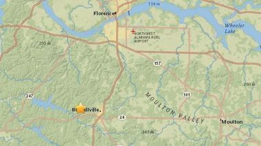 The star marks the epicenter of Wednesday night's earthquake in north Alabama, about four miles west of Russellville. (USGS map)