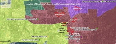 The map above shows the location of Huntsville Housing Authority's largest public housing developments in relation to the new high school attendance zone lines. Yellow is the Columbia High zone; maroon is Huntsville High; purple is Lee High; green is Johnson High. The Grissom High zone, which is not shown, includes two smaller public housing areas: Stone Manor Apartments and several duplexes on Mahogany Row. (Steve Doyle | sdoyle@al.com)