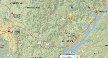 The star marks the epicenter of an earthquake detected Tuesday morning about 11 miles north of Scottsboro. (USGS map)