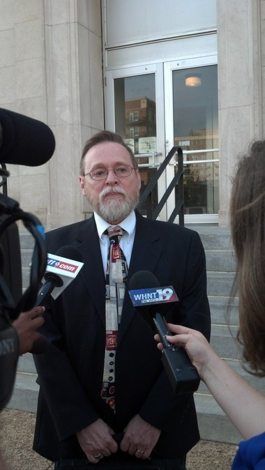 ACLU of Alabama Legal Director Randall Marshall speaks to reporters outside the federal courthouse in Huntsville on Monday, July 27, 2015. (Steve Doyle | sdoyle@al.com)