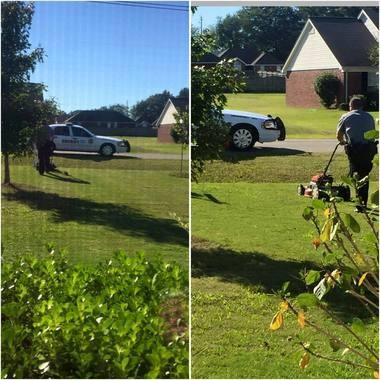 A Madison County sheriff's deputy finished mowing a yard in Harvest for a mother and her baby. They posted this photo to Facebook to show their appreciation. (Contributed by the Brindley family)