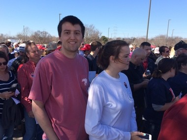 Justin Potter, left, and Emily McCormack stand in line to attend Donald Trump rally in Madison. (Paul Gattis/pgattis@al.com)