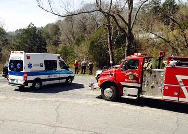 First responders are shown at the scene of a drowning near the Asbury community in Marshall County. (WAFF 48)