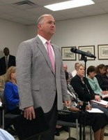 Madison County Sheriff Blake Dorning tells his county commission about the problems mentally ill prisoners are causing in the county jail. (File)