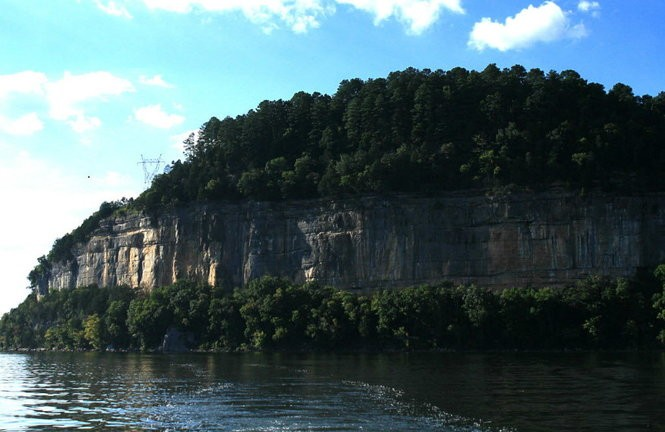 The Painted Bluff over the Tennessee River in Marshall County was named to the 2013 Places in Peril list. Images on the bluff have now been cleaned of graffiti by preservationists. (Contributed by TVA)