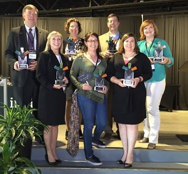 The 2016 WBCNA entrepreneur award winners: Back Row L to R: Mayor Tommy Battle - Entrepreneur Champion of the Year, Ellen Didier - Entrepreneur of the Year, Jamie Miller - Emerging Entrepreneur of the Year, Hillary Dunham - People's Choice Front Row L to R: Debbie Batson standing in for Dr. Mark Whorton - Intrapreneur of the Year, Caitlin Lyon - Creative Entrepreneur of the Year, Laura Huckabee-Jennings - WBC Entrepreneur of the Year. (Submitted photo)