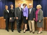 The Huntsville City Board of Education in a 2016 file photo are from left, Michelle Watkins, Beth Wilder, former Interim Superintendent Tom Drake, Board President Elisa Ferrell, Board Vice President Walker McGinnis and Pam Hill. (Anna Claire Vollers | avollers@AL.com)