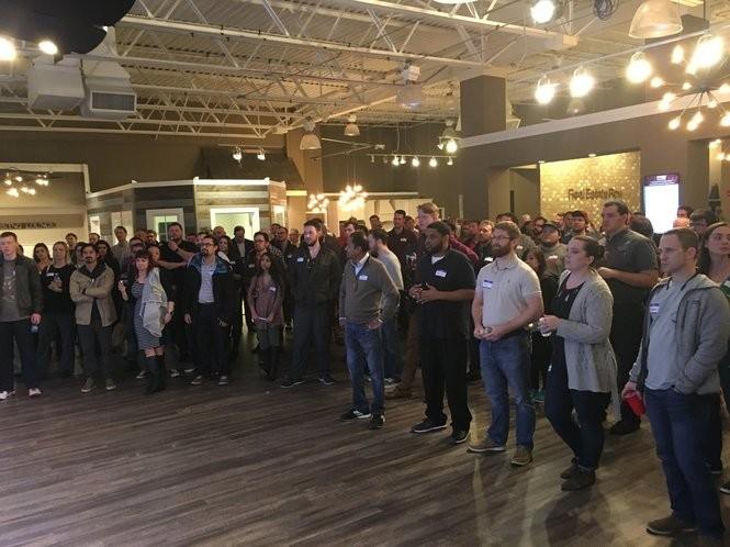 Part of the crowd at Coworking night in Huntsville to hear a presentation by Google Fiber. (Lee Roop/lroop@al.com)