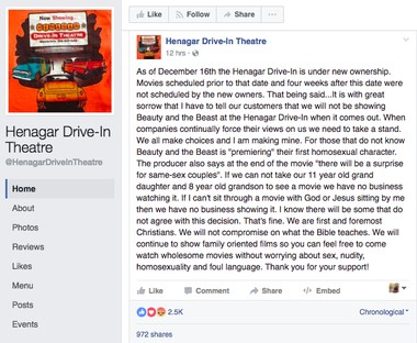 Screenshot of the theater Facebook post that's no longer available.