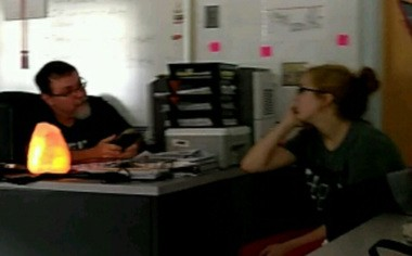 This photo released by the Tennessee Bureau of Investigation shows Elizabeth Thomas and Tad Cummins in his classroom in January. The photo was captured just days before Cummins' alleged inappropriate contact with Thomas, TBI announced.