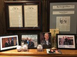 Doug Jones' office and home are decorated with political and sports memorabilia.