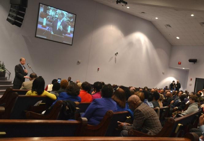 Doug Jones speaking in the sanctuary of the Progressive Union Missionary Baptist Church in Huntsville, Ala., on Dec. 10, 2017. (Lee Roop/lroop@al.com)