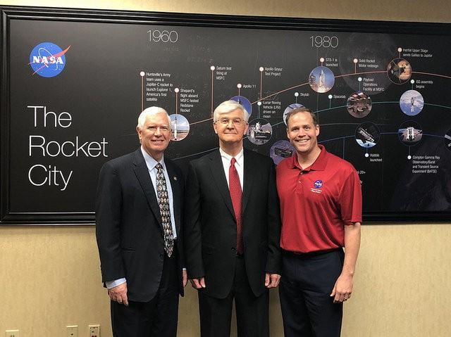 U.S. Rep. Mo Brooks (R-Huntsville), left, Huntsville attorney Mark McDaniel and NASA Administrator Jim Bridenstine pose during Bridenstine's first visit to Huntsville in August, 2108. (Contributed)