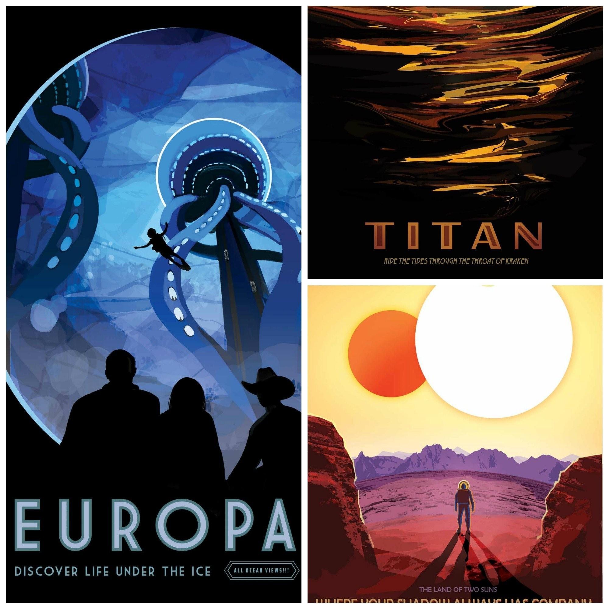 Titan Ride the Tides through the Throat of Kraken NASA Kosmos Poster