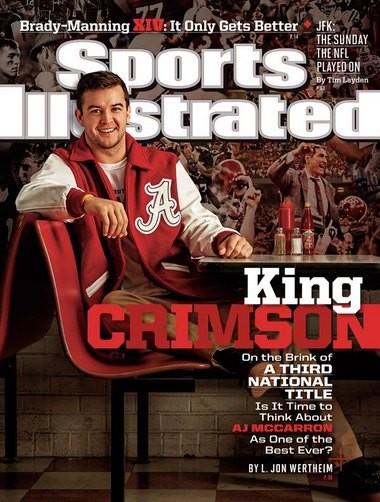 Alabama quarterback AJ McCarron on the cover of Sports Illustrated.