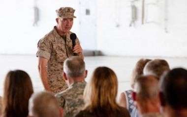 Lt. Gen. Kenneth McKenzie, commander of U.S. Marine Corps Forces Central Command, addresses the crowd during a change of command ceremony at MacDill Air Force Base in Florida on June 18. McKenzie assumed command of MARCENT from Lt. Gen. Robert Neller. (Contributed photo/Sgt. Fredrick J Coleman, USMC)