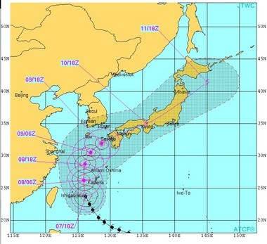 The center of Neoguri was expected to miss Okinawa, home to several U.S. military bases. (Joint Typhoon Warning Center)