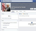 Sen. Jeff Sessions' campaign Facebook page was founded in May 2013, but has not a single post.
