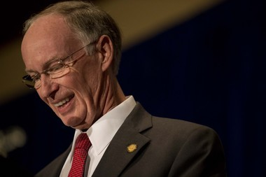 Republican Gov. Robert Bentley addresses his supporters after the announcement of his re-election for Alabama governor, Tuesday, Nov. 4, 2014, in Montgomery, Ala. Bentley defeated his opponent Democrat Parker Griffith. (AP Photo/Brynn Anderson)