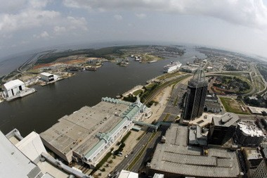 A view from above downtown Mobile, where, like elsewhere in the Mobile River Basin, tax credits and resources have attracted a growing number of manufacturers. (AL.com file)