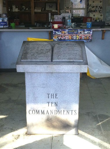 "Winfield Mayor Randy Price, who recently supported passage of a resolution naming the Marion County town a ""City under God,"" said he erected his own monument to the Ten Commandments inside his wrecker service shop to show his religious convictions. (Contributed by Randy Price)"