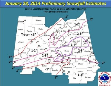 """Snowfall amounts in central Alabama on Jan. 28, 2014. Most of Jefferson and Shelby counties and surrounding areas received """"advisory amounts"""" of snow, said Jim Stefkovich, the meteorologist in charge at the National Weather Service in Birmingham. """"But the impacts were tremendous."""" He said a key point for those living in Alabama to remember is: """"Regardless if it is a winter weather advisory or warning, dangerous conditions may exist for both, especially while driving."""" (National Weather Service)"""