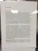 A letter to patients posted in the office of Alabama Psychiatric Services on Montclair Road