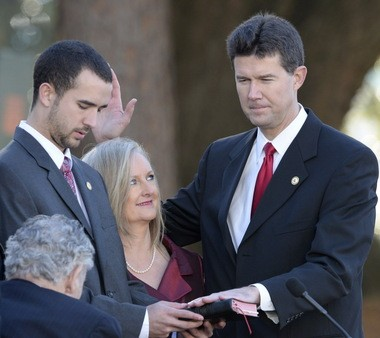 John Merrill is sworn in as Alabama's Secretary of State during the Inauguration ceremony for Gov. Robert Bentley and state officials in Montgomery, Ala., Monday, Jan. 19, 2015. (Julie Bennett/ jbennett@al.com)
