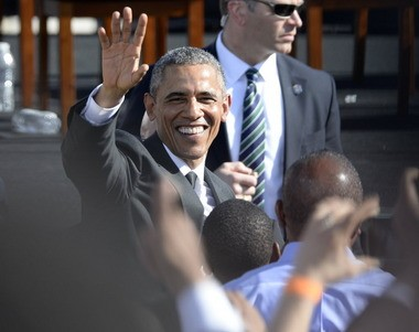 President Barack Obama greets members of the crowd Saturday, March 7, 2015, during the 50th Anniversary Commemoration of Bloody Sunday in Selma, Ala. (Julie Bennett/ jbennett@al.com)
