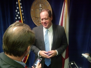 Sen. Cam Ward of Alabaster speaks to reporters after the Senate passed his bill to make reforms in Alabama's criminal justice system to reduce prison overcrowding. (Mike Cason/mcason@al.com)
