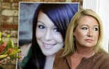 FILE - In this Thursday, May 23, 2013, file photo, Sheila Pott poses with a portrait of her daughter Audrie in Los Altos, Calif. Audrie Pott committed suicide in September 2012 after being sexually assaulted by three boys during a house party in Saratoga, Calif. A wrongful death trial this month will determine whether bullying played a role in the girl's suicide. Lawyers are scheduled to argue Wednesday, April 1, 2015, over what evidence the jury will hear, while opening statements are expected to start next week. (AP Photo/Marcio Jose Sanchez, File)