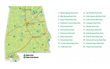 Map of Alabama's state parks. (www.alapark.com)