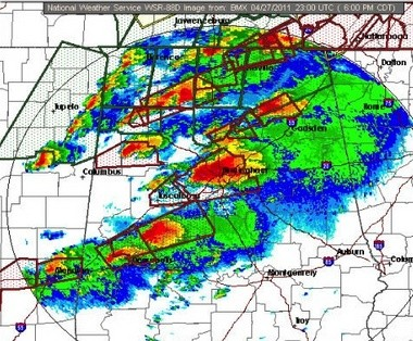 A look at just a few of the tornado warnings issued on April 27, 2011, in north and central Alabama. The red boxes are tornado warning polygons. (National Weather Service)