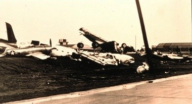 """Airplanes were thrown about like toys by a tornado on March 20, 1948, at Tinker Air Force Base in Okla., the site of the first official """"tornado forecast."""" (NOAA)"""
