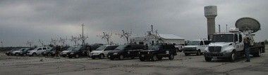 Vortex2 research vehicles ready to roll in Stroud, Okla. (Susan Cobb/NSSL)